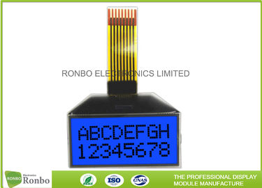 Customized Shape 8x2 Character Lcd Module STN Blue Positive 0.6 X 0.7 Dot Pitch